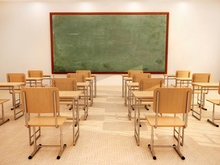 3d illustration of bright empty classroom with desks and chairs