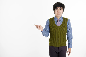 Young Asian Corporate Man pointing with one fingers over white b