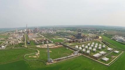 Modern refinery aerial panning