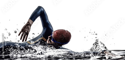 man triathlon iron man athlete swimmers swimming Poster
