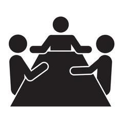 Icono aislado reunion trabajo gris