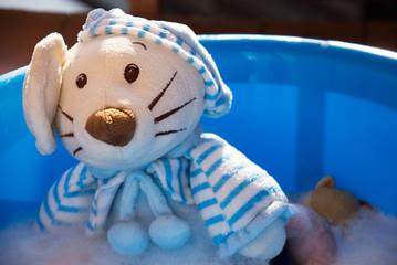 Boy bathing toys