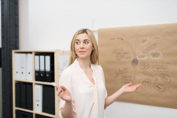 junge mitarbeiterin stellt ihre ideen im unternehmen vor