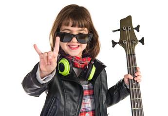 Rock girl holding a bass