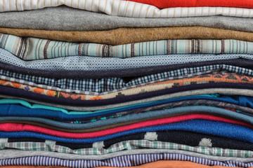 Neatly folded clothing after washing and ironing
