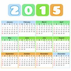 calendar grid for 2015