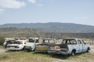 Coches abandonados. Desierto de Tabernas. Almeria (Spain)