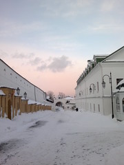 Winter sunset in the monastery