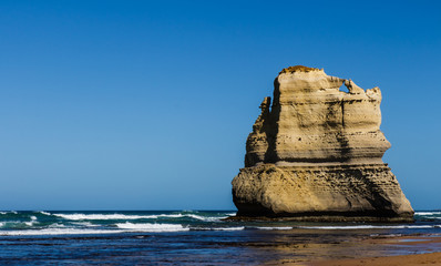 The rock of a beach on the great ocean road in Australia