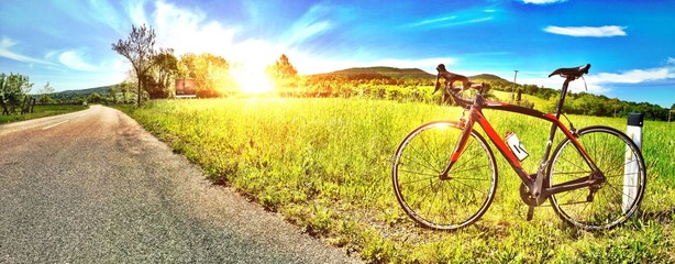 Road Bike during a rest in the middle of the nature!