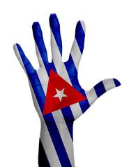 Open hand raised,Cuba flag painted