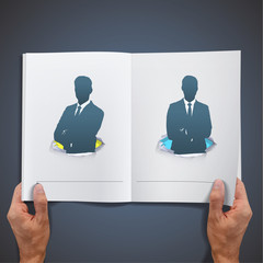 Silhouettes of business men with their arms crossed