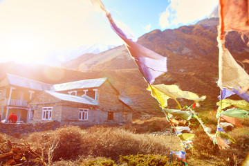 flags with prayer in Nepal