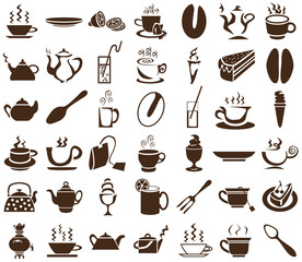 tea and coffee icons on white