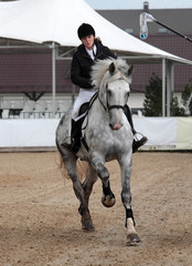 Dressage test: woman ride gallop on horse