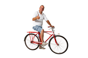 Thumbs up for riding bicycle