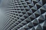 Close up of sound proof coverage in music studio - 82919395