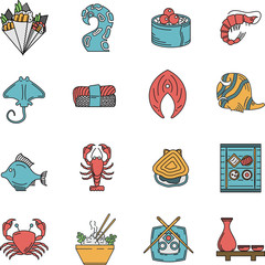 Flat icons for seafood menu