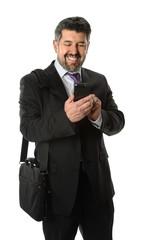 Hispanic Businessman Using Cellphone