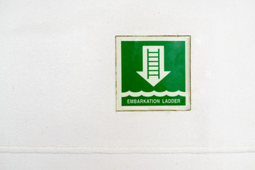 information plate of embarkation ladder
