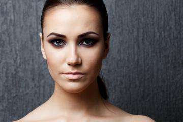 High fashion look glamor closeup portrait of beautiful sexy styl