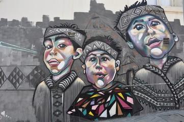 Graffiti an einer Hauswand in Valparaiso/Chile