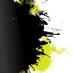 Vector green and black paint decorative left oriented splash