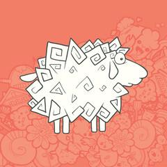 Vector Illustration Cute Hand Drawn Sheep. Greeting card New