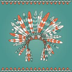 Hand drawn native american indian chief headdress