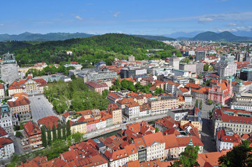 Aerial view of Ljubljanas old city center