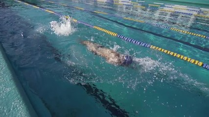 Slow Motion Of Professional Male Swimmer Swimming Backstroke In Lap Pool