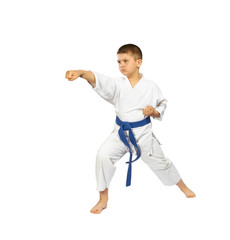 A boy with a blue belt makes punch