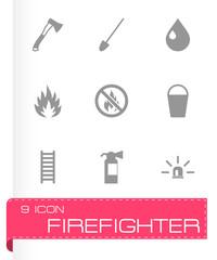 Vector black firefighter icon set