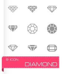 Vector black diamond icon set