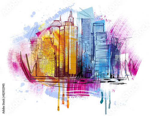 New York Skyline Sketch плакат