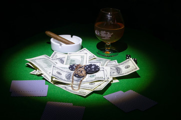 Poker, cards, money and gambling chips