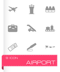 Vector black airport icons set