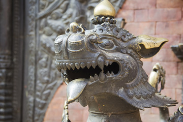 Lion's head in Bhaktapur Temple ,the Kathmandu Valley, Nepal