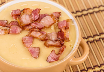 Soup close up with bacon.