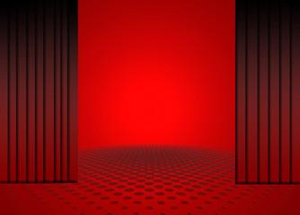 Escenario, cortinas, fondo, rojo, iluminado