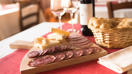 Italian salami and cheese appetizers