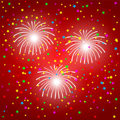 fireworks on a red background