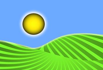 Campo, cultivo, sol, cielo, surcos, tierra, sembrado