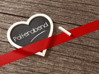 Polterabend Herz Tafel Grußkarte Botschaft