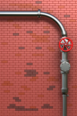 Industrial Pipes On Brick Wall
