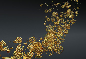 Gold Abstract Particles Background