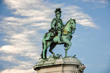 Lisboa, Portugal, estatua ecuestre de Joao I, Plaza del Comercio