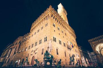 Palazzo Vecchio at night, Florence, Italy