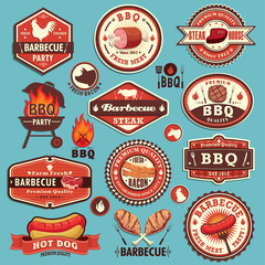 Vintage BBQ party label design set