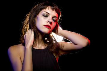 Disheveled drunk or female high on drugs at a nightclub